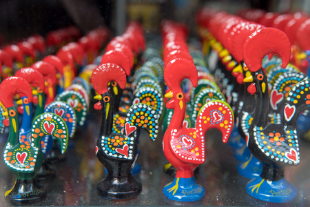 LISBON - APRIL 01 , 2018 : Typical Portuguese souvenirs are presented on a show-window for involvement of buyers