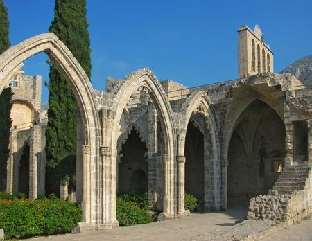 blu sky: Bellapais abbey, Cyprus Stock Photo