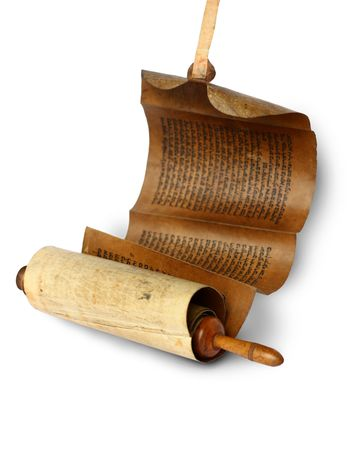 Ancient scroll on white background, Israel
