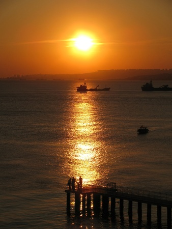 View of the sunset on the sea, Istanbul photo
