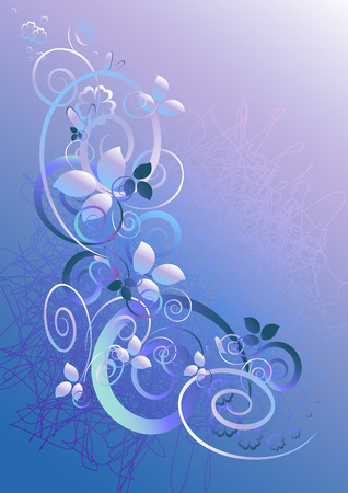 Floral abstract background in blue-violet tones Vector