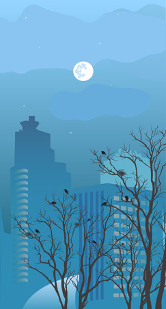 View of the city at night in the spring Vector