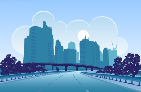 Vector image of a modern city, designed in blue colors