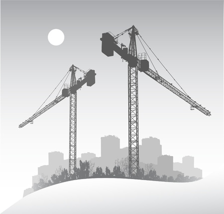 Silhouette of a large dockside construction crane Illustration