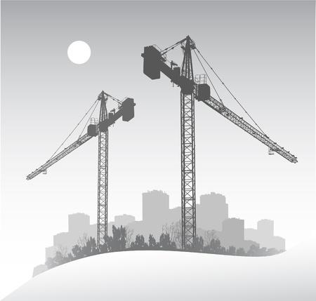 built tower: Silueta de una gr�a de construcci�n de gran entrevista