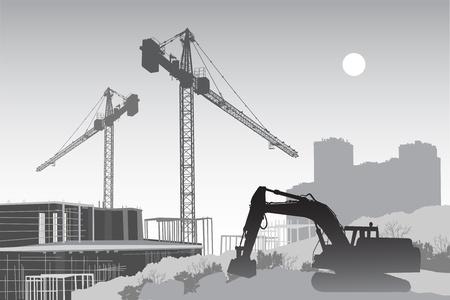 bouwkraan: Afbeelding van de bouwplaats met een trekker in de voorgrond, kranen en steigers