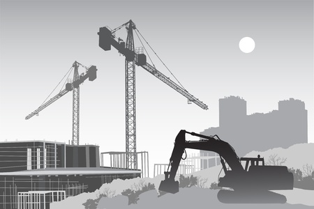 Image of the construction site with cranes, scaffolding and a tractor in the foreground Vector