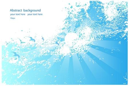 ciel: Abstract fond de ciel bleu avec le soleil et les oiseaux Illustration