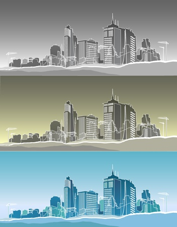 storey: Silhouette of a modern city in three variants