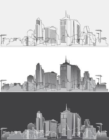 Silhouet van een moderne stad in drie varianten