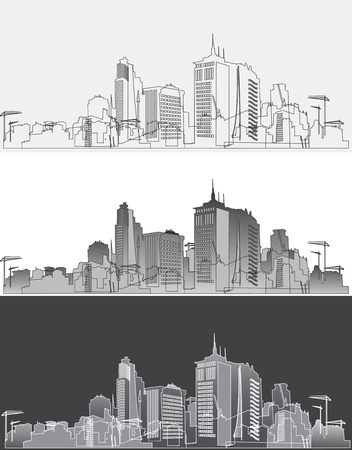 Silhouette of a modern city in three variants Vector