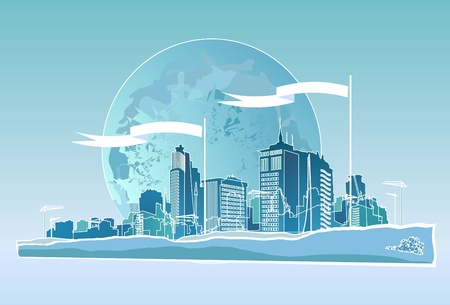 lake district: The citys skyline on the background of the Earth Illustration