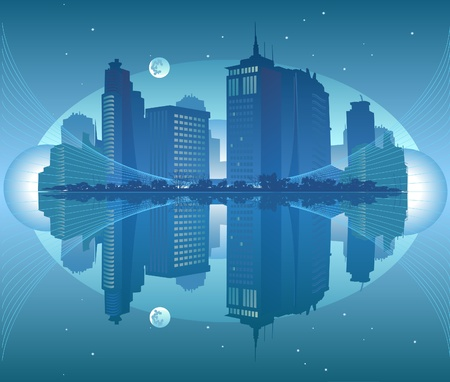 long lake: Night view of the city by the sea Stock Photo