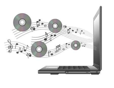 laptop with  notes and cd Vector