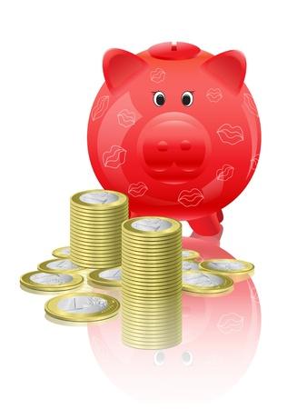Piggy moneybox with money Vector