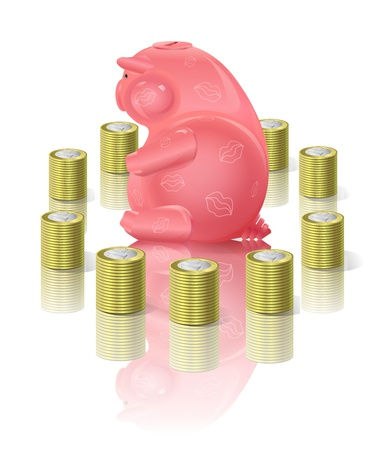 currency glitter: Piggy moneybox with money Illustration