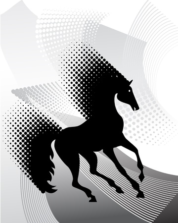 Gray background with horse Stock Vector - 9820703