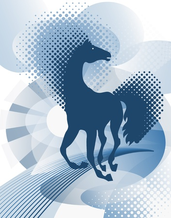 Blue background with horse Vector