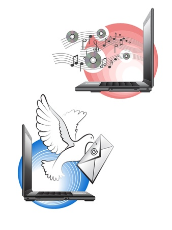 Two images with laptop, notes and envelope Vector