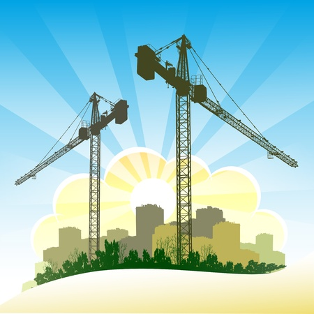 Silhouettes of cranes Stock Vector - 9929562