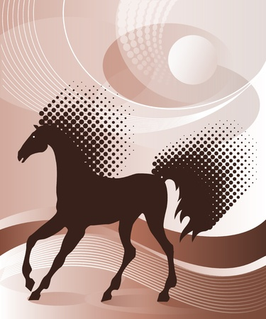 Brown background with horse Stock Vector - 9929558