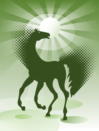 Green background with horse Stock Vector - 9929570