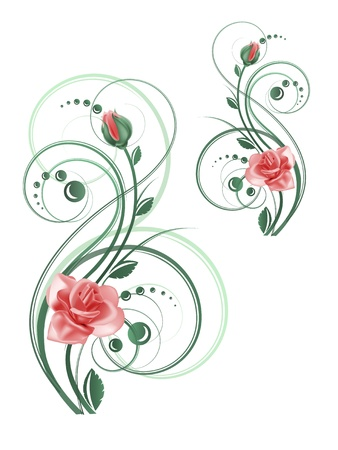 rose bud: Floral pattern with rose