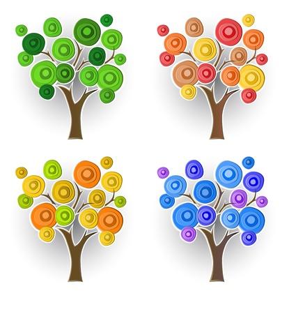 Set of decorative trees