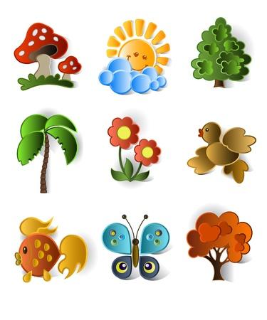 illustration zoo: Icone di piante e animali Vettoriali