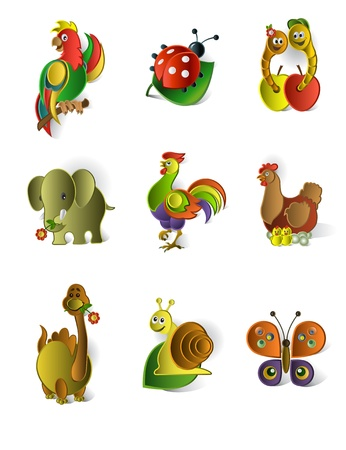 apple worm: Icons of animals