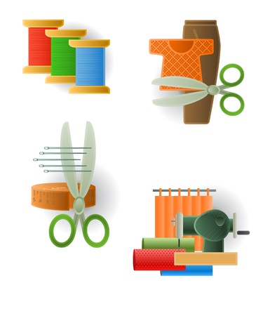 textile machine: Icon of sewing accessories Illustration