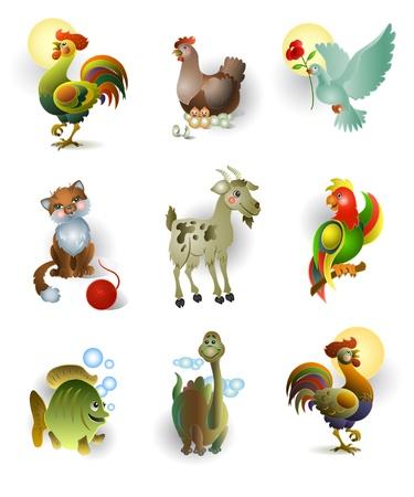 dinosaurio caricatura: Iconos de animales