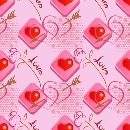 Love seamless pattern   with roses and hearts