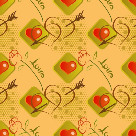 Love seamless pattern   with roses and hearts Vector