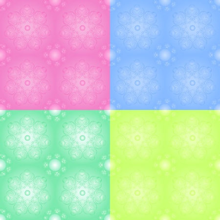 Set of floral seamless in pastel tones Vector