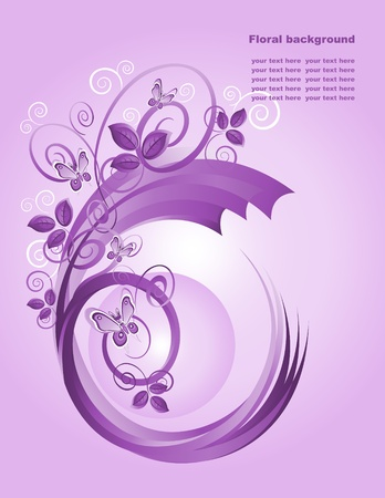 Abstract background with butterfly in violet tones. Vector