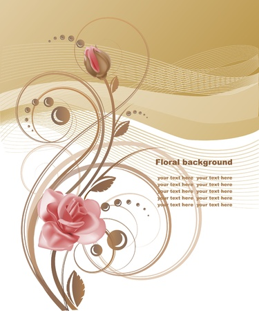 brown swirl: Floral background with rose in pastel tones