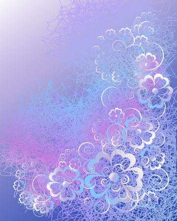 Floral abstract background in blue-violet tones