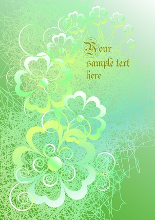 Floral abstract background in green tones Vector
