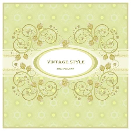Vintage frame in pastel  tones. Vector