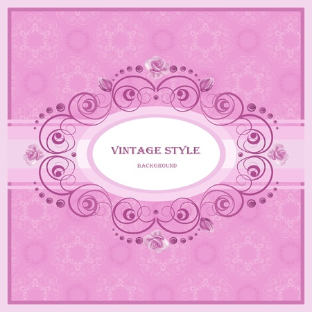 baroque background: Vintage frame in pastel  tones.
