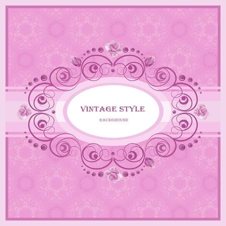 fancy floral wallpaper: Vintage frame in pastel  tones.