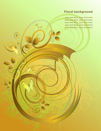 accent abstract: Abstract background with butterfly in gold  tones. Illustration
