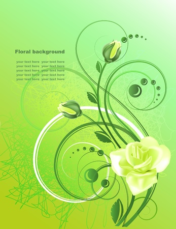 Floral background  with yellow rose in bright l tones Vector