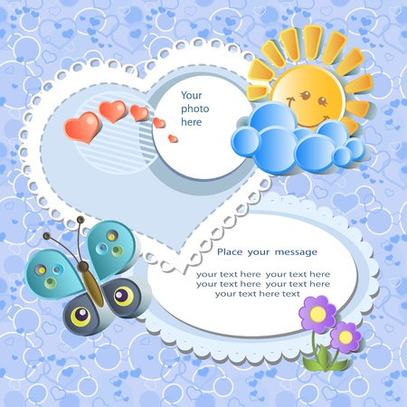 scrapbook frame: Vector baby card with scrapbook elements