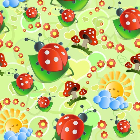 mushroom cloud: Seamless with mushrooms and   ladybirds in bright tones Illustration