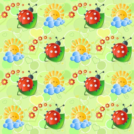 Seamless with sun and   ladybirds in bright tones Vector