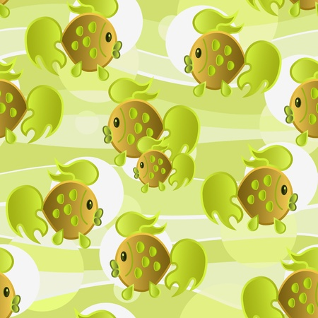 Seamless with goldfish in green  tones. Vector