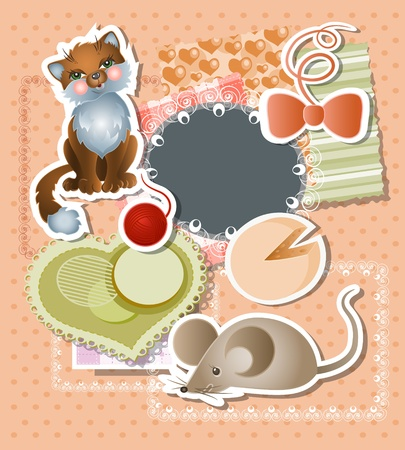 Scrapbook bagkground for baby Vector