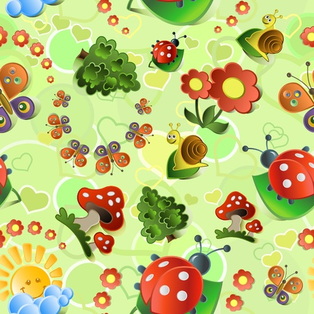 Seamless with mushrooms and   ladybirds  Vector